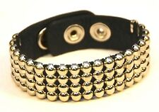 MULTI-STUD OVER LEATHER BRACELET PUNK GOTH CLUB ROCKABILLY BRACELET BIKERS