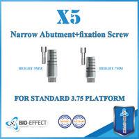 5x Narrow Straight Titanium Abutment + Screws For Internal Hex Dental Implants