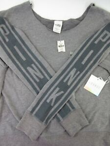 Victoria's Secret PINK Sweatshirt COZY Slouchy Top REVERSIBLE Gray S SOFT NWT