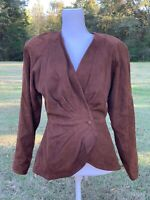 Vintage 70s St. Gillian Kay Unger Coat Brown Size 6 Small Suede Leather Jacket