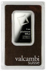 Valcambi Suisse Logo 1 oz Platinum Bar in Assay Certificate Holder