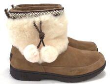 Ugg Brie Sheepskin Cuff Pom Pom Waterproof Suede Chestnut Women's Winter Boots