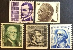 1966-81 1c-6c Prominent Americans coils, Scott #1297-99, 1303-04, Used F-VF