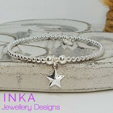 Inka Sterling Silver 925 Stretch 3mm beaded bracelet with a Star charm