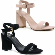 LADIES SUMMER SANDALS NEW WOMENS BLOCK HEEL STRAPPY PARTY DRESS FANCY SHOES SIZE