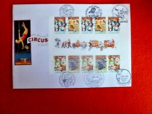 150TH ANNIV OF CIRCUS GUTTER STRIP OF 10 COVER  WITH  6 DIFF POSTMARKS