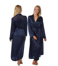LAST ONE! Satin Long Full Length Wrap Bathrobe Size 10 12 Plain Navy