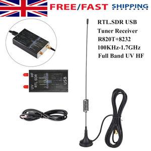 RTL-SDR USB Tuner Receiver 100KHz-1.7GHz Full Band UV HF FM Radio + Antenna G5B4