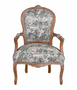Rokoko Sessel Toile-de-Jouy Armlehnstuhl Barockstuhl Antik Stuhl Esszimmer Stuhl