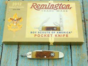 REMINGTON USA OFFICIAL BSA BONE RS4783 R7A 1934 BOY SCOUT POCKET KNIFE KNIVES
