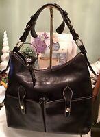 Dooney Bourke Black Florentine Vachetta Leather LUCY Large Hobo Tote Sac Bag
