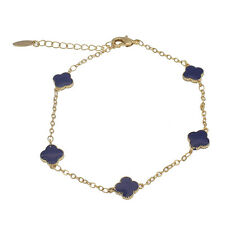 "75% OFF Hermosa 18k Yellow Gold 2016 AUTUMN New Women Bracelets 9"" Blue#"