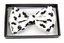 New Tuxedo PreTied White Mustache  Bow Tie Satin Adjustable
