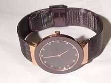 BERING Women's Quartz Brown Ceramic Milanese Mesh Bracelet 11435-262