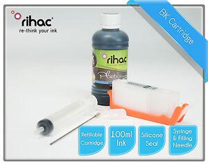 Rihac CLI-651 Black Refillable Cartridge + Refill Ink for CANON MX926 MX726