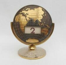 "Vintage Brass 4"" x  4.75"" WORLD MAP / GLOBE Perpetual FLIP OVER DESK CALENDAR"