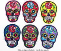 Sugar Skull Flowers Iron on transfers  Sew on Patch Embroidered  fabric Badge