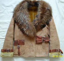 Womens sheepskin coat warm short jacket Fur collar size L