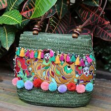 Latest Women Shoulder Bag Ethnic Style Travel Straw Woven Purse Ladies Beach Bag