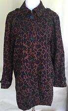 LONDON FOG Trench Coat SZ Large Leopard Print Marion Outerwear Lined L Washable
