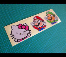 3 Pics kitty Mario bros Squished Up Faces Funny Reflective window Decal Sticker
