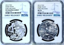 2016 Silver 2-coin Set Mark Twain  $1 NGC PF70 + MS70 Early Releases W/ OGP COA