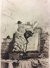 Jules CHEVRIER  (1816-1883)  Bouquins et rats estampe pointe sèche 1875