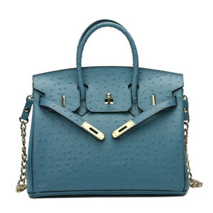 Europe and America Celebrity Style Ostrich Grain Birkin Bag Genuine Leather Bag