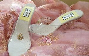 CINDERELLA FAIRYTALE CLEAR CRYSTAL JEWEL BRIDAL WEDDING HEELS PARTY CLUB COSTUME