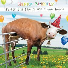 Funny Cow Party Gogglies 3D Moving Eyes Birthday Greeting Card Animal Lovers