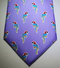 Chaps Stretch Patterned Necktie Tie 100% Silk Purple Ernest Toucan NEW