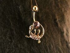 Bauchnabel Piercing Salamander 24 Karat Vergoldet Gold Rosa Echse Saurier Gecko