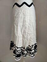 per Una M&S Women's Skirt A line White Black Applique Linen Summer Plus Long 18