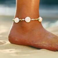 Flower Cowrie Sea Shell Beads Anklet Bracelet Chain Hawaiian Beach Foot Jewelry