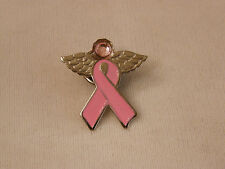BREAST CANCER PINK RIBBON LAPEL TAC PIN ANGEL WITH WINGS & PINK OCTOBER CRYSTAL