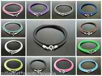 """3mm Silicone Rubber Cord & 925 Sterling Silver Necklace 18"""" (46cm) Choose Colour"""