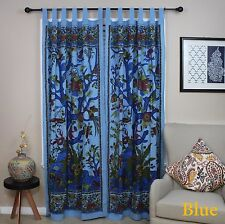 Tree of Life Tab Top Cotton Curtain Drape Door Panel Window 44x88 Blue