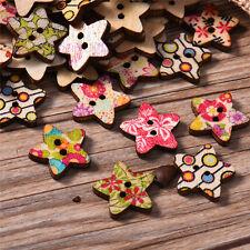100pcs Cute 18mm Colorful Pentagram Shape Painted Wooden Buttons for Children