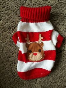 """Small dog knitted jumper, red and white stripes with Rudolph pic approx 11"""" long"""
