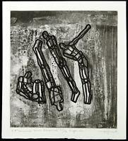 "DDR-Kunst. ""4 Männer am Strand"", 1980. Michael MORGNER (*1942 D), handsigniert"