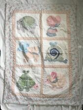 "Animals Pink & Blue Baby Quilt/Blanket Wall Hanging 36""x 50"" Chic Country Shabby"