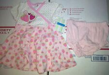 LITTLE WONDERS 3-6 MONTHS 2 PIECE BABY DRESS Strawberry pattern *NEW WITH TAGS*