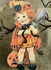 """Repro Vintage 1900s Girl Witch Broom JOL Halloween Cardstock Decoration,8"""" OR10"""""""