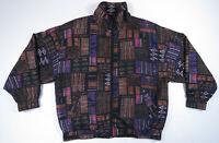 NWOT Vintage 80s 90s Aztec Abstract Geometric Silk Full Zip Bomber Jacket XL