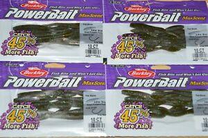 "4 bags berkley powerbait maxscent flat worm 3.6"" green pumpkin party drop shot"