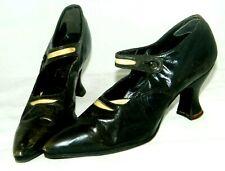 """Antique Wichert Ny Ladies Black Dress Pumps Shoes 1910's Appx 9"""" long, 5"""" High"""
