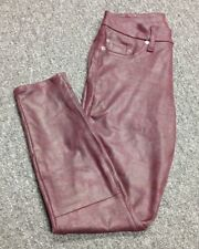 SEVEN FOR ALL MANKIND Red Polyester Flat Front 3 Pocket Skinny Jean Sz 26 EE3256