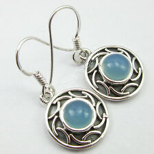 "Handcrafted Earrings 1.2"" Gift Store .925 Pure Silver Original Aqua Chalcedony"