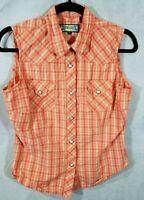 Shyanne women' shirt sleeveless plaid M western cowgirl snap up Orange & White