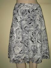 "Per Una ~ Grey & White Mix Floral Print Burnout Design Lined Skirt Size 14  L24"""